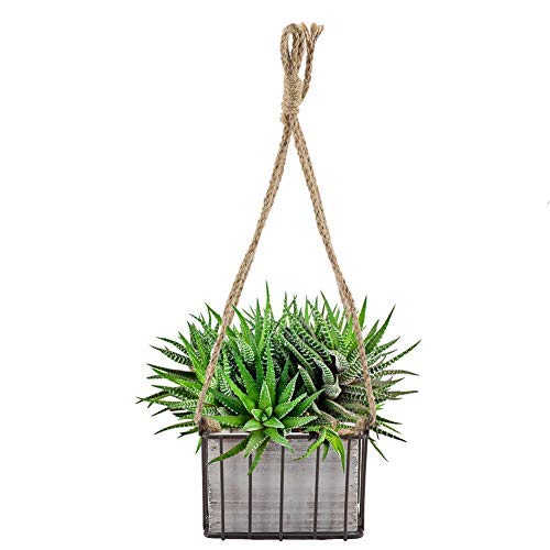 Maceta de almacenamiento de pared para el hogar, jardín, con alambre, decoración rústica, de ratán, para colgar