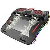 Game Laptop Cooling Pad Cooling Stand Pad Silent Fan Cooling Panel Cooling Stand Dual Channel High Speed Turbine RGB Ambient Lighting is Suitable for Mainstream 15-17 Inch Laptops New 2021 Upgrade