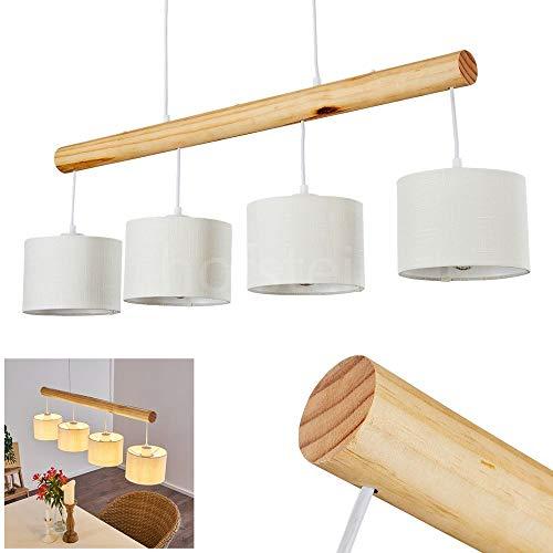 Pendelleuchte Geelong, Hängelampe aus Metall/Holz/Textil in Weiß/Natur, 4-flammig, 4 x E27 max. 40 Watt, Höhe max. 120 cm, Hängeleuchte mit Stoff-Schirmen, geeignet für LED Leuchtmittel