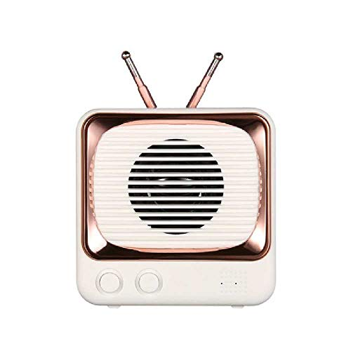 N\C Altavoz Bluetooth retro Mini portátil tarjeta creativa audio inalámbrico pequeño altavoz goma blanco
