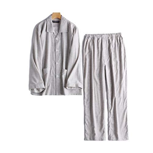 Pyjama für Herren, langärmelig, mit Knöpfen, Flanell, Baumwolle - grau - Medium