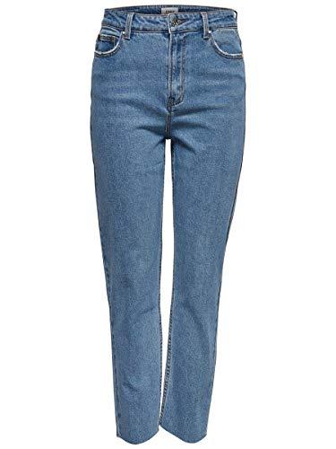 ONLY Damen Straight Fit Jeans ONLEmily HW Cropped Ankle 2932Light Blue Denim