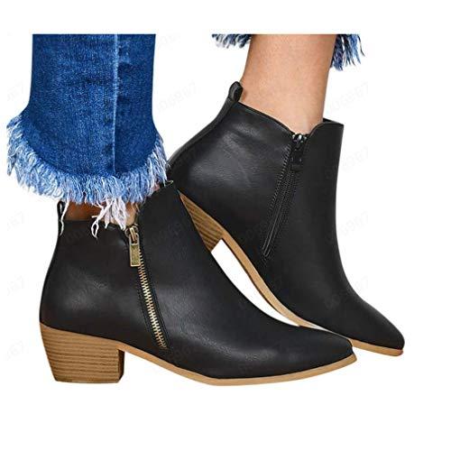 Faionny Botas femininas de camurça no tornozelo com zíper de leopardo sólido para mulheres tênis, Black Hot, 8