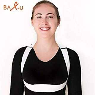 Posture Corrector for Men and Women by BAX-U - High Quality, Very Thin and Soft, No Under-Arm Compression and Chiropractor Designed Upper Back Brace   Small   White