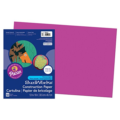 "SunWorks Construction Paper, Magenta,  12"" x 18"", 50 Sheets"