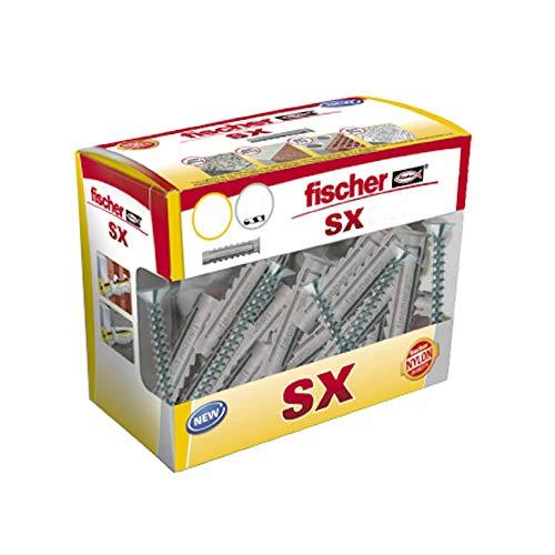 Fischer 553438 SX 5x25 con tornillos, tacos pared, colgar cuadros, fijar lámparas, Caja de 40 uds, gris