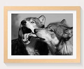 オオカミ -動物 -#32683 - 木製フォトフレーム 写真フレーム 木製 の枠 装飾画 壁掛け 壁飾り 壁ポスター 木製タグ おしゃれ ウォールアート アートパネル 壁の絵 インテリア絵画 額縁 部屋飾り 贈り物 プレゼント 黒と白 横 30×40cm