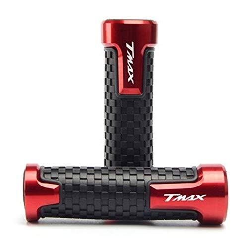 HDDTW Puños De Goma Aleación CNC De Moto para Yamaha TMAX530 / 500 SX DX 7/8'22mm Puños del Manillar De Motocicleta Piezas del Acelerador Giratorio Tapones Barra Accesorios De Boutique (Color : Rojo)