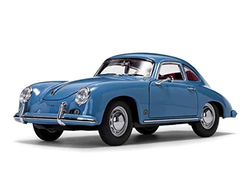 1957 Porsche 356A 1500 GS Carrera GT Coupe Aquamarine Blue with Red Interior 1/18 Diecast Model Car by Sunstar 1342