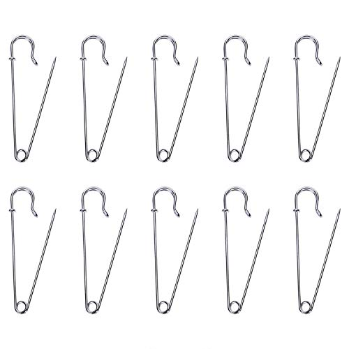 Shapenty Steel Wire Spring Lock Safety Pins Fasteners for Skirt Blankets Clothing Fabric Craft Quilting Knitting, Upholstery and Tablecloth Bed Sheets Secure, 10PCS (Silver, 10cm)