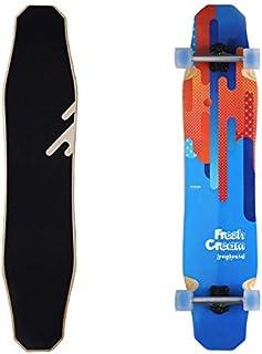 WHOMEPro Design 44 Inch Longboard Skateboard Complete - DancingFreeStyleSlide Cruiser - Fresh Cream Longboardsfor Adult Kid & Beginner