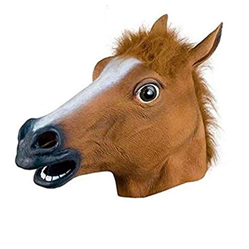Creepy Horse Head Mask Full Face Latex Animal Party Mask Halloween Costume Props Christmas Adults & Kids