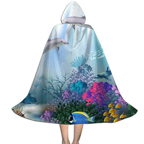 Amanda Walter Capa para nios Capa con Capucha Delfn Ocano Peces submarinos Arrecife de Coral Capas con Capucha de Halloween Capas de Cosplay Bata Fiesta de Brujas Capa con Capucha