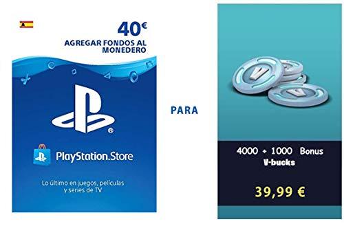 PSN credit para Fortnite - 4.000 V-Bucks + 1.000 V-Bucks - 5.000 V-Bucks DLC | PS4 Download Code - ES Account - 5,000 V-Bucks Edition |