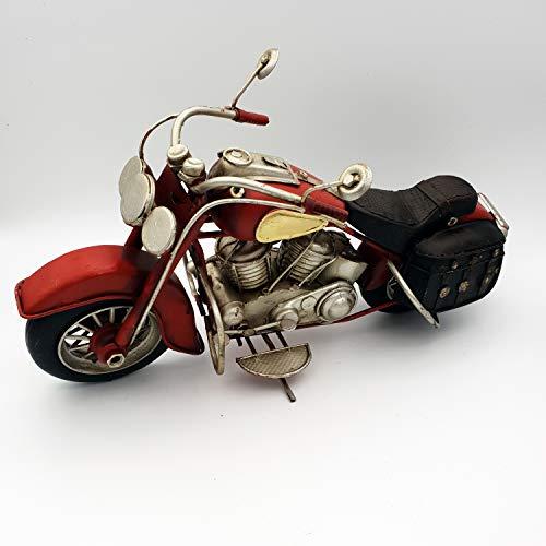 DynaSun Art Vintage Vintage Motorfiets Model in Metaal, uit Collectie in Retro Antieke Auto Stijl Schaal 1: 8 28 cm