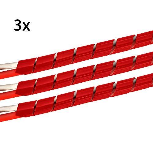 TPFNet 3 Piezas Organizador de Cables en Espiral | 4-50mm Diámetro | Rojo | 10m