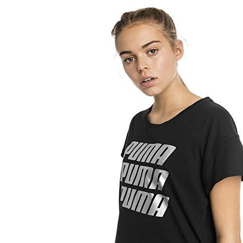PUMA Damen Modern Sports Graphic Tee T Shirt, Cotton Black-Silver, XS
