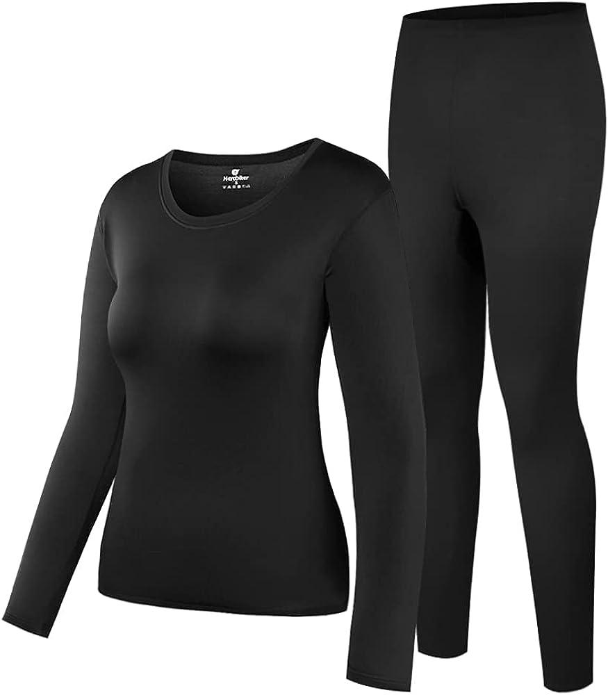 HEROBIKER Women's Thermal Underwear Set Ultra Soft Top & Bottom Base Layer Long Johns Winer Warm with Fleece Lined