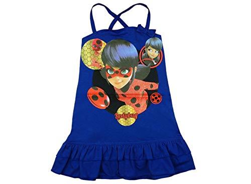 Mädchen Sommer-Kleid Miraculous Lady-Bug und Cat Noire aus Baumwolle, Kollektion 2019 in Rot, Blau GRÖSSE 116, 122, 128, 134, 140, Freizet-Kleid Trägerkleid Farbe Blau, Größe 140