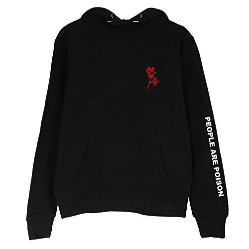Women's Black Rose Pattern People are Poison Letter Print Black Hoodie Sweatshirt