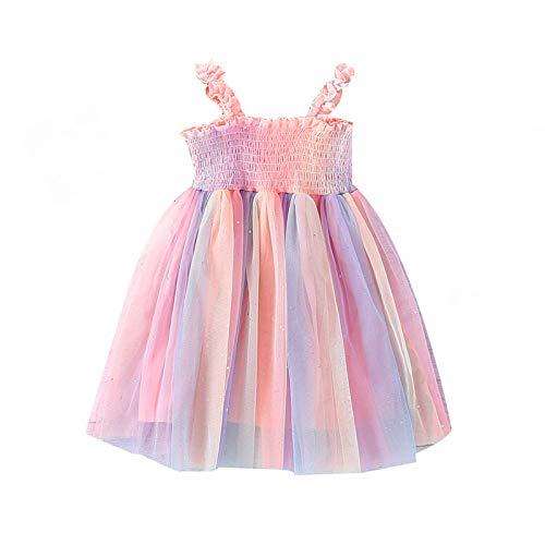 Vestido de verano para niña, informal, sin mangas, cuello cuadrado con tul de colores, arcoíris, para 2-7 años rosa 5-6 Años