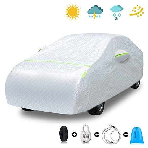 EZDOIT Car Cover Outdoor Sedan Cover Waterproof Windproof Scratch Resistant All Weather Outdoor UV Protection with Adjustable Buckle Straps for Sedan Fits up to 185''(185''L x 70''W x 60''H)