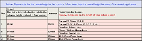 LightDow Large Lens Pouch 5mm Thick Neoprene Bag For Canon 20-105mm Nikon 24-70mm lenses Etc (Size=L)
