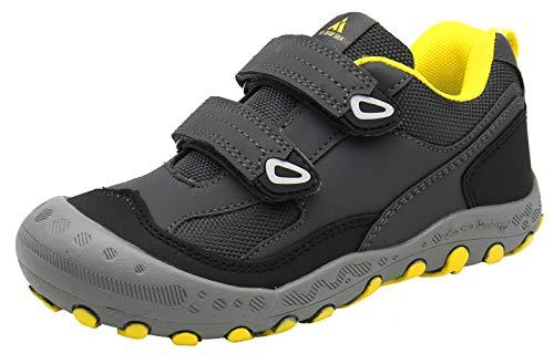 Mishansha Kinder Atmungsaktiv Wanderschuhe für Jungen Outdoor Sports Trekking Schuhe rutschfest Straßenlaufschuhe Mesh Sneaker, 37 EU, Grau