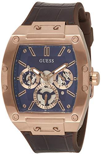 Guess Watches Phoenix Herren Uhr analog Quarzwerk mit Leder Armband GW0202G2