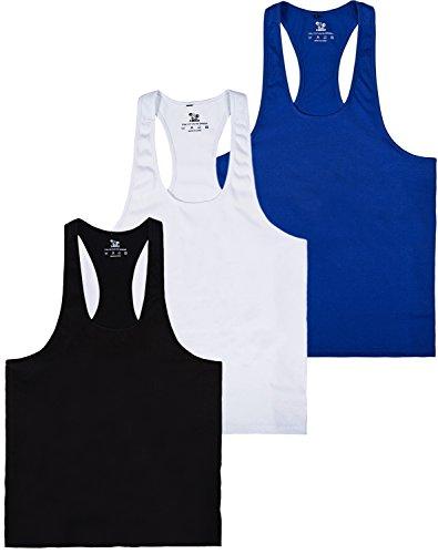 Pro Men's GYM Workout Bodybuilding Stringer Tank Top Shirts (M, 3pack)
