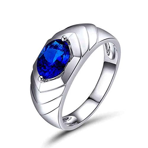 AnazoZ Silver Blue Engagement Ring for Men,Wedding Ring 18K White Gold Round with Oval 1.04t Blue Tanzanite Ring Size Z