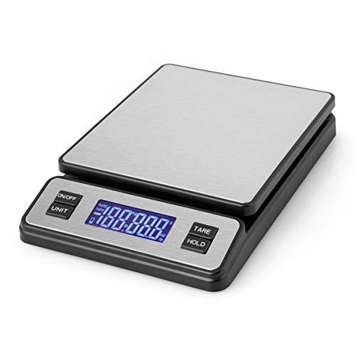 Orbegozo PC 3100 - Báscula cocina digital, gran capacidad hasta 40 Kg, superficie INOX, escalado 2 g, pantalla LCD