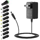 SHNITPWR 12V 2A 24W Power Supply Adapter UL Listed 100V~240V AC to DC Converter 12V 2A 1.8A 1.5A 1.2A Universal Transformer W/ 10 Tips 5.5x2.1 5.5x2.5 5.0x2.5 6.3x3.0 4.8x1.7 4.0x1.7 3.5x1.35