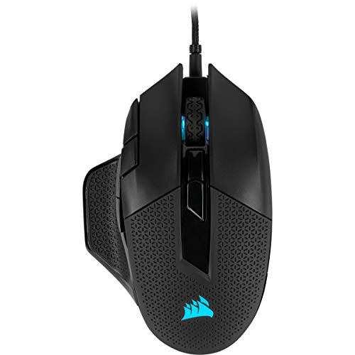 Corsair Nightsword RGB, Tunable FPS/MOBA Optical Gaming Mouse (18000 DPI Optical Sensor, Weight System, 10 Programmable Buttons, RGB Multi-Colour Backlighting) - Black