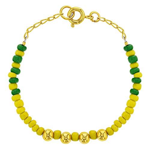 In Season Jewelry - Pulsera chapada en oro de 14 quilates, diseño de Orula Babalawo, color verde y amarillo