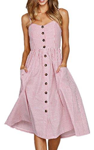 Angashion Damen V Ausschnitt Spaghetti Buegel Blumen Sommerkleid Elegant Vintage Cocktailkleid Kleider, Größe: L, Farbe: 0913 Rosa