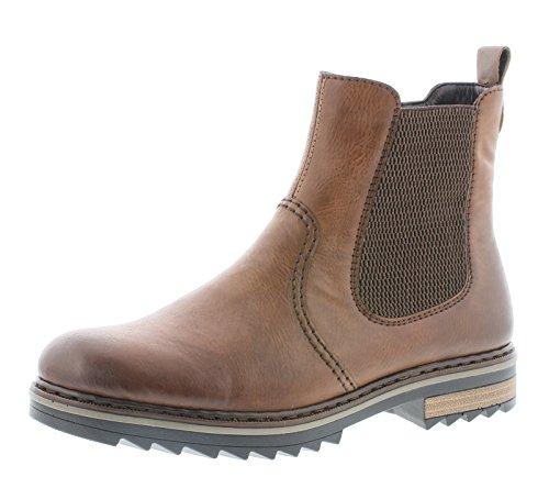 Rieker Damen Chelsea Boots X1473,Frauen Stiefel,Halbstiefel,Stiefelette,Bootie,Schlupfstiefel,flach,Blockabsatz 3.3cm,Chestnut/Mandel/Brown, EU 38