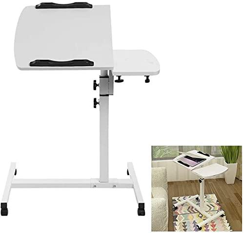 TYSJL Scrivania portatile per computer portatile, tavolo da laptop pieghevole, scrivania di workstation per computer mobili, altezza regolabile 65-95 cm, 360 ° girevole con rotelle di bloccaggio, scri