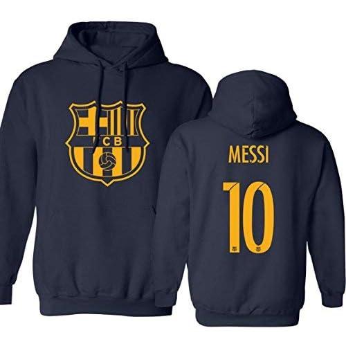f3c60ae1f0c KING THREADS Barcelona Soccer Shirt Lionel Messi #10 Futbol Jersey Men's  Hooded Sweatshirt