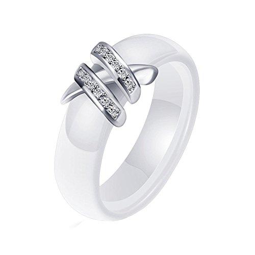 HIJONES 6MM Blanc & Noir Céramique Bague Plaine pour Femme avec Zircone Cubique Bande de Engagement Mariage Double Rangée Blanc Taille 54