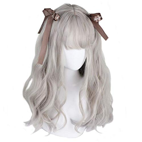 aiyaya Long Curly Wig - Natural Synthetic Hair Lolita Wigs with Wig Cap For Cosplay and Daily Wear (Gray)
