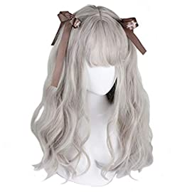 aiyaya Long Curly Wig – Natural Synthetic Hair Lolita Wigs with Wig Cap For Cosplay and Daily Wear (Gray)