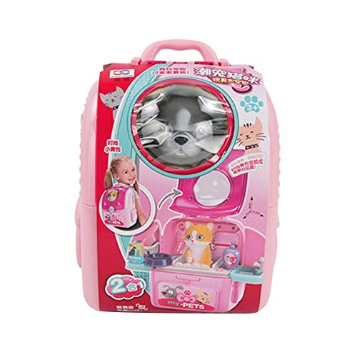 Eternitry Bolsa de espacio para mascotas juego casa conjunto educativo kit de juguetes para nios perro aseo mdico kit con perro pretender y juguetes para nios