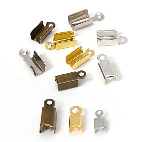 200 tapones de extremo de metal para cordón de cuero chapado en oro/plata conectores de cuentas de crimpado para hacer joyas de bricolaje