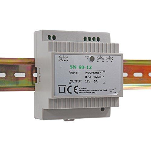 Auforua® Hutschienen Netzteil LED Trafo 230VAC / 12V DC 5A 60W; Konstantspannung DIN-Schiene Netzteil für LED Produkte 12V DC; Schaltnetzteil Hutschienennetzteil
