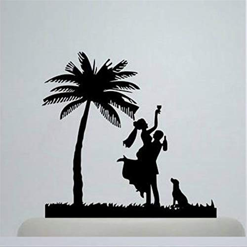 Drunk Bride And Groom Wedding Cake Toppers Funny Palm Tree Cake Topper with Dog Acrylic Wedding Cake Topper Cake Topper
