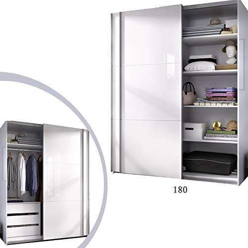 HABITMOBEL Armario 180 Dormitorio Bebé, Estantes + Cajonera Color Blanco Brillo, Medidas: 180 Ancho x 204 x 65 cm de Fondo
