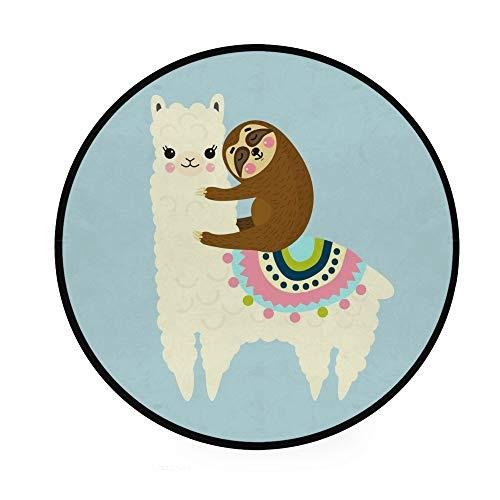 Orediy 92 cm runder Schaumstoff Weiche Teppiche Alpaka und Faultier Leichte Kinder Kinderzimmer Spielteppich Boden Yogamatte für Wohnzimmer Schlafzimmer