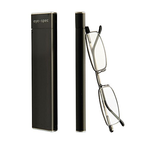 The Slimline | Ultraleichte Lesebrille mit stilvollen Rahmen in Schwarz und schmalem Etui - Praktisches Faltdesign von eye-spec
