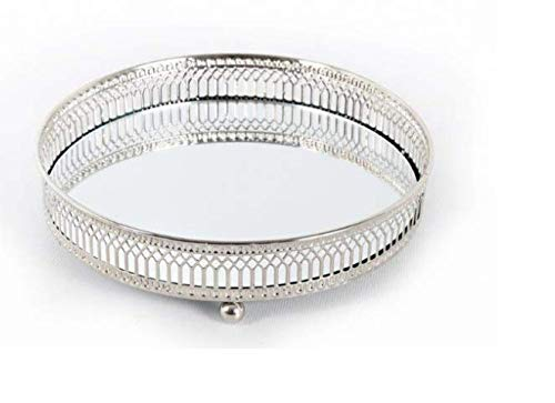 Marco Paul Small Silver Mirror Base Candle Plate Decorative Mirrored Home Decoration Tray Dish Round Glass Holder Round Ornamental Display Trays Bedroom Bathroom Livingroom Mothers Day
